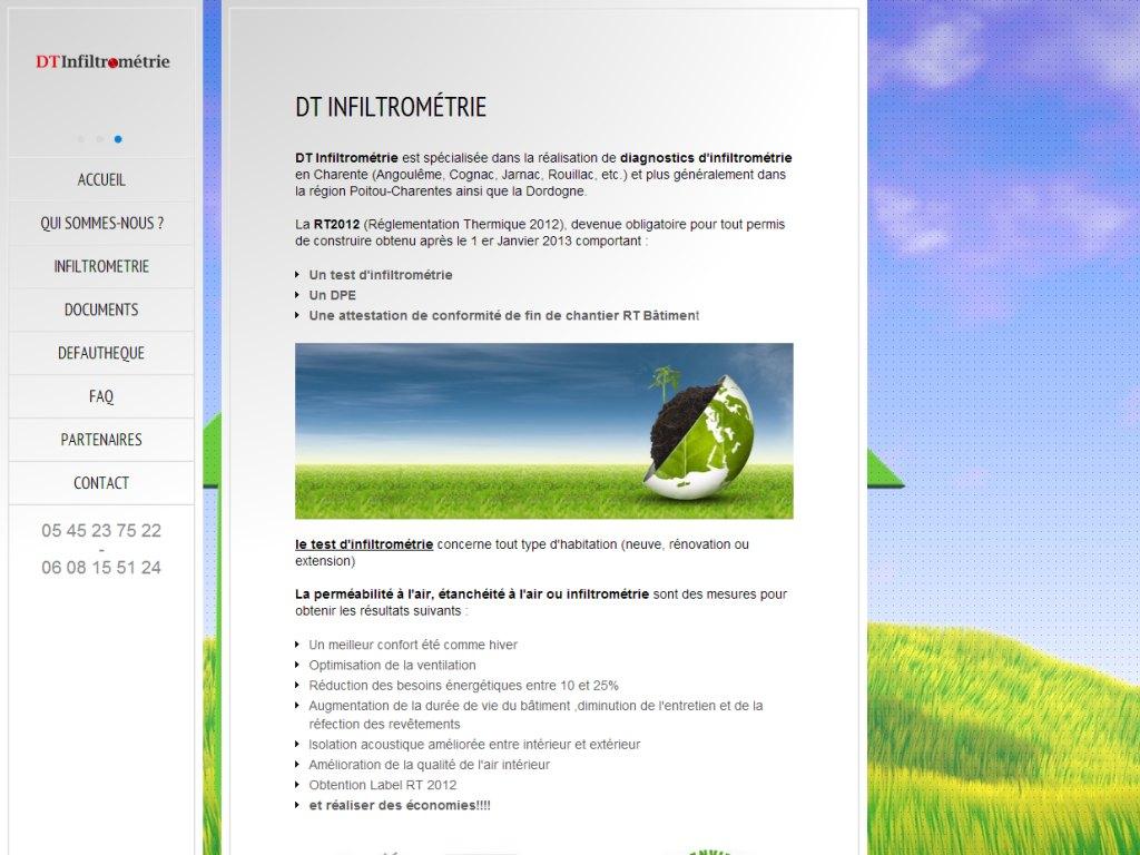 Site internet d'une société réalisant des tests d'étanchéité à l'air