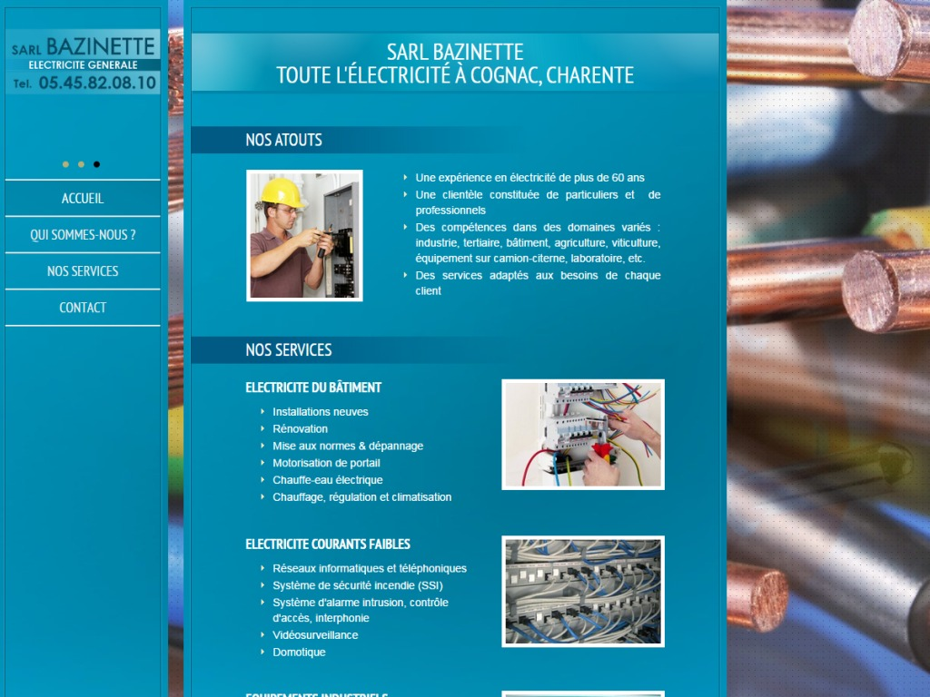 Site web d'une société d'éléctricité générale - Bazinette