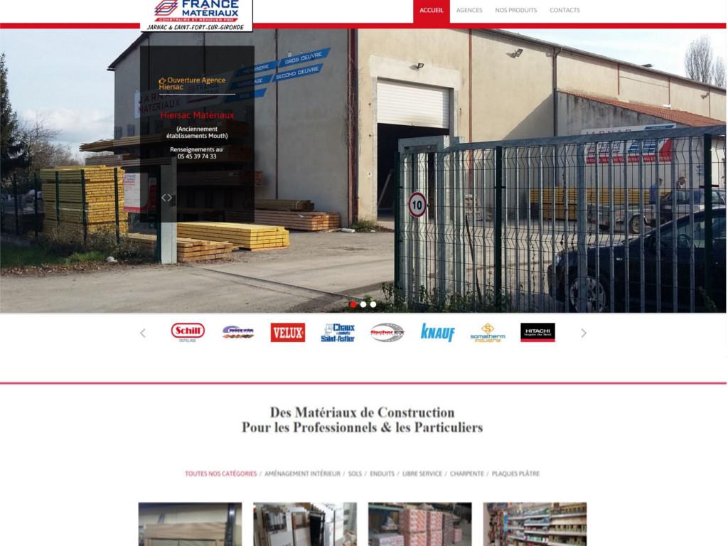 Site internet d'un négociant en matériaux de construction