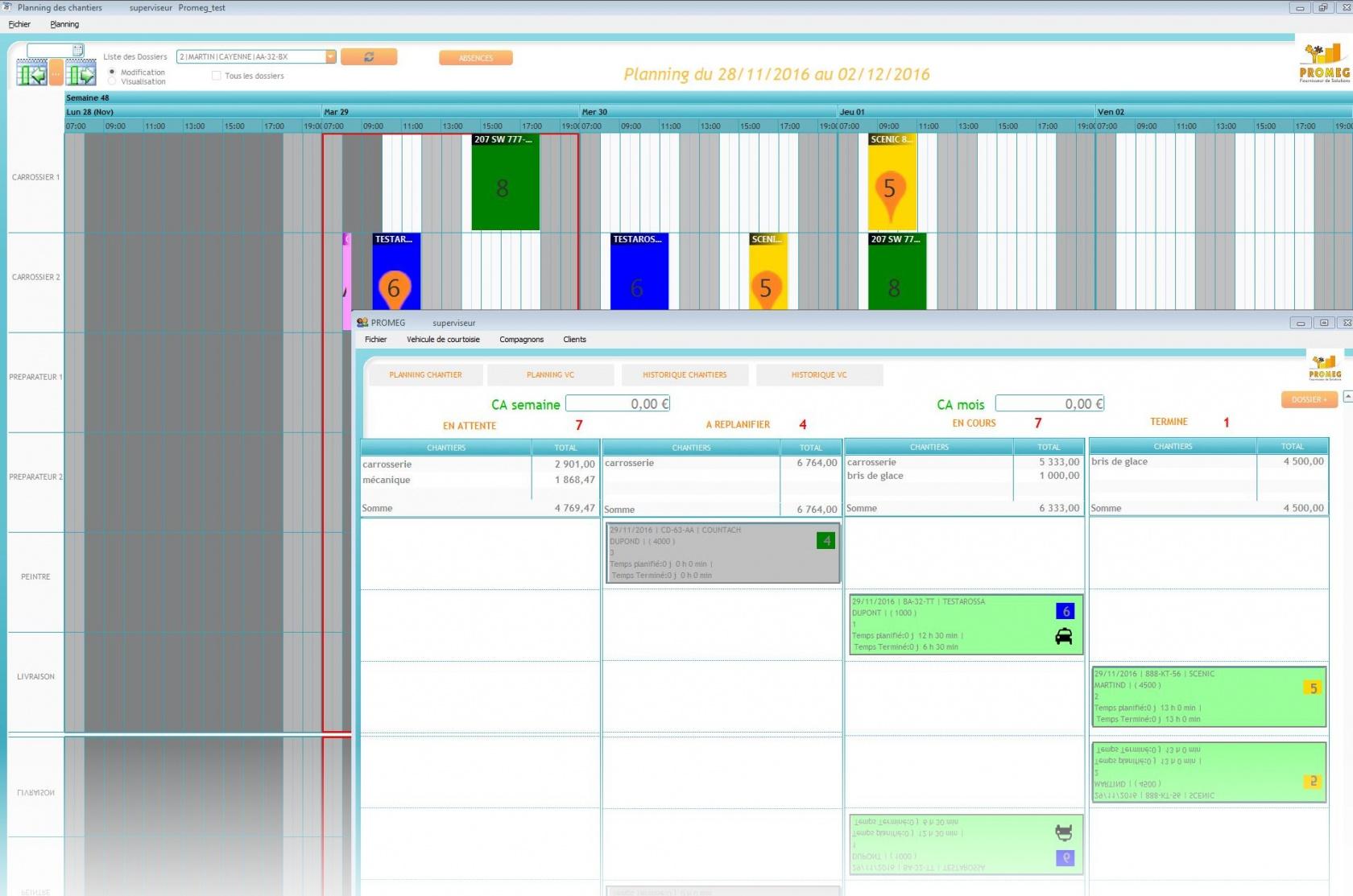 Logiciel de gestion d'activités d'une carrosserie (Planning de charge, tableau de bords).