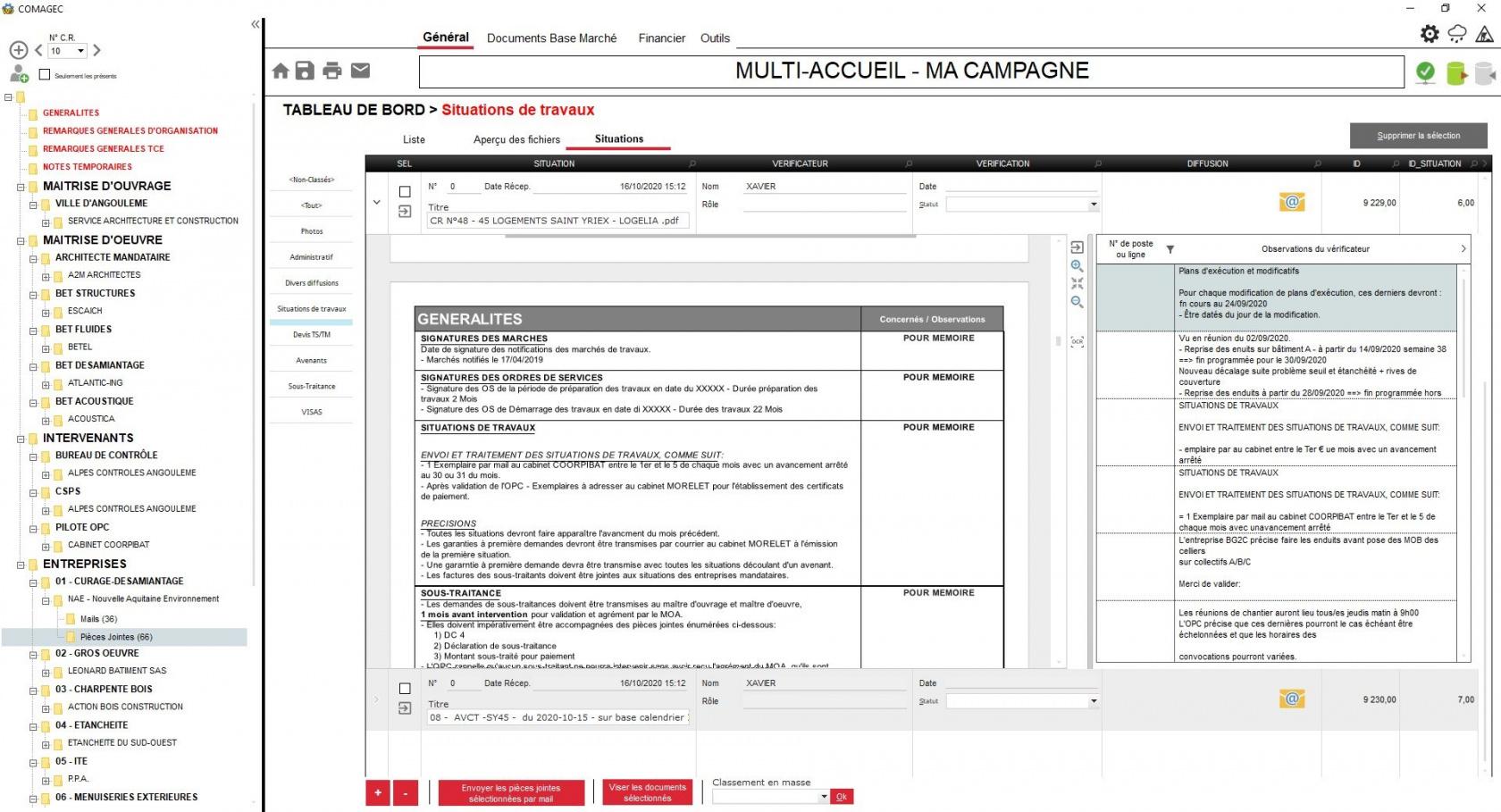 Logiciel de gestion de comptes rendus de chantier et classement de documents